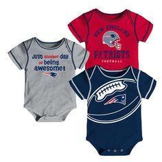 a0057ba1dc1 New England Patriots Baby Boys' Awesome Football Fan 3pk Bodysuit Set - 18 M