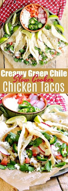 Creamy Slow Cooker Green Chile Chicken Tacos - These green chile chicken tacos are so easy to make, full of flavor, and perfect for the crazy busy nights when you have no time for cooking. #slowcooker #crockpot #chicken #greenchile #tacos #healthy #glutenfree #easy #recipe | bobbiskozykitchen.com
