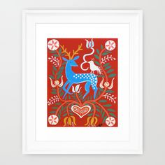 Folk Deer Painting Framed Art Print