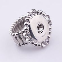 2016 Women jewelry snaps button ring with white rhinestone fit 18mm ginger snaps buttons jewelry 10pcs/lot