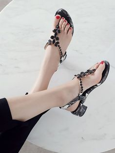 Only 3 Days Left Women's Black Gem Embellished V-shaped Ankle Strap Leather Sandals #elegantshoegirl #shoes #ankle  #boots #flats #fashions #womens