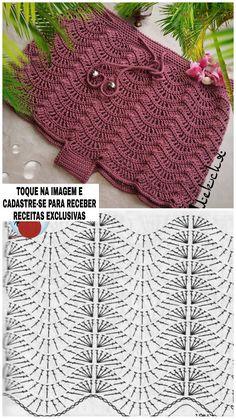 Crochet Stitches Patterns, Crochet Chart, Love Crochet, Crochet Designs, Stitch Patterns, Knitting Patterns, Crochet Ripple, Crochet Motif, Crochet Doilies