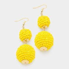 Double Thread Ball Yellow Earrings