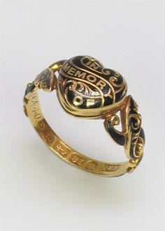 Enameled Victorian mourning ring. This is so beautiful! I love the detail of the inscription inside. All I can say is that if I die, fools had better make some memorial jewelry about me, or I'll haunt them noisily and appear as a clown.