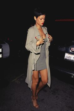 Rihanna in a trench