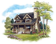 Cabin Craftsman Log Elevation of Plan 43212