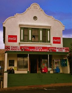 """A shop in Bredasdorp in the Western Cape Province of South Africa. Previously known as """"Rooi stoepies."""" Me and my brother and sister used to walk to church on sundays and on our way there always stop at Rooistoepies for sweets. Provinces Of South Africa, Van Niekerk, Cape Dutch, Colonial Architecture, One And Only, Homeland, Cape Town, Cry, Mystic"""