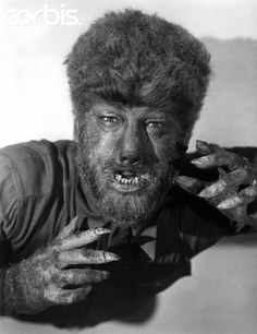 The Wolf Man is a 1941 Universal horror film starring Lon Chaney Jr. Thanks to Curt Siodmak, The Wolf Man brought the werewolf legend into popular culture. Horror Icons, Horror Movie Posters, Horror Films, Horror Art, Lon Chaney Jr, The Frankenstein, She Wolf, Famous Monsters, Scary Monsters