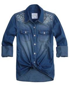 Embellished Denim Shirt | Girls Shirts Clothes | Shop Justice