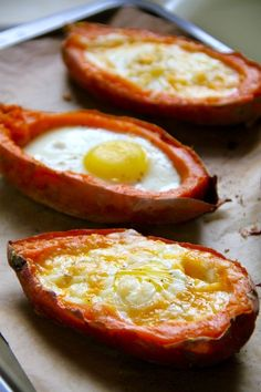 Healthy Baked Egg Stuffed Sweet Potatoes recipe. Gluten-free and vegetarian.