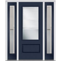 Shown is an Internal Blinds 3 4 Lite 1 Panel Plastpro Fiberglass Smooth  EntryFiberglass Door   Woodgrain Series 6 8  Flush Spring Patina Full  . Full View Exterior Door With Blinds. Home Design Ideas