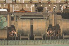 Secció longitudinal del vapor Reina Victòria Eugènia. Calderes. Primera meitat s. XX. Autor desconegut. 10351 MMB