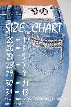 de9b25a4 Silver Jeans Size Conversion Chart | Clothing | Silver jeans, Jeans ...