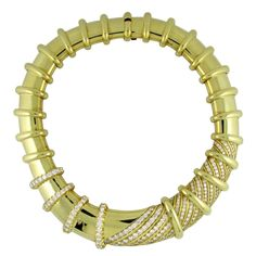 Jose Hess Large Diamond Gold collar necklace   From a unique collection of vintage choker necklaces at https://www.1stdibs.com/jewelry/necklaces/choker-necklaces/