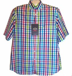 Paul & Shark Yachting AUTHENTIC Plaid Pink Blue Men's Cotton Polo Shirt Size L #PaulSharkYachting #PoloRugby
