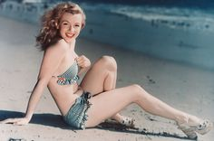 Norma Jeane Fun in the Sand during the 1940's