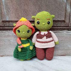 Shrek, Crochet Ideas, Crochet Patterns, Fabric Toys, Handmade Dolls, Super Heros, Amigurumi Toys, String Art, Disney
