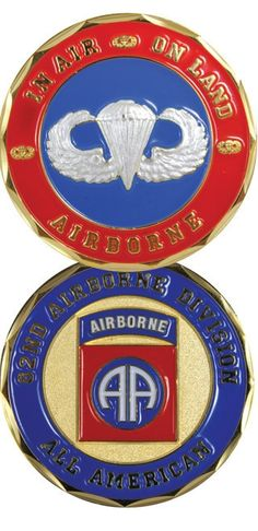 82nd Airborne Division All American In Air On Land Army Challenge Coin