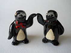 This is a set of vintage penguin salt and pepper shakers that are just too cute. Perfect for the collector of vintage penguins or for a vintage Christmas table setting.   $10.00