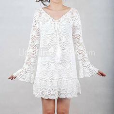 Patrones Crochet: Vestido Blanco Medios Circulos Patron