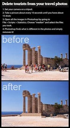 limpar pessoas em fotos turísticas