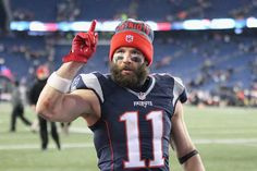 Julian Edelman Photos Photos - Julian Edelman #11 of the New England Patriots reacts after the Patriots 34-16 victory over the Houston Texans in the AFC Divisional Playoff Game at Gillette Stadium on January 14, 2017 in Foxboro, Massachusetts. - Divisional Round - Houston Texans v New England Patriots
