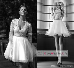 Wholesale Wedding Invitations - Buy 2014 Sexy New Sheer Long Sleeves V Neck Tulle A Line Wedding Dresses Applique Beaded Bridal Gowns BO5482, $128.46   DHgate