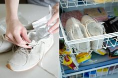 22 Life-Changing Shoe Hacks - The Krazy Coupon Lady Thick Socks, Clean Shoes, Clothing Hacks, Clothing Websites, Clothing Ideas, Zipper Bags, Your Shoes, Helpful Hints, Life Hacks