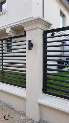 Proiect Casa Rezidentiala Otopeni | Profile Decorative CoArtCo House Wall Design, House Fence Design, Front Wall Design, House Outside Design, Exterior Wall Design, Modern Fence Design, Vertical Garden Design, Door Gate Design, Bungalow House Design
