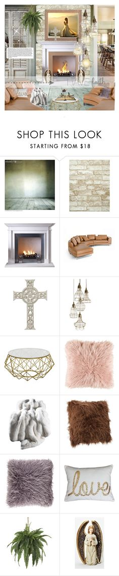 """""""Faith that Lets Go"""" by spicedblossom ❤ liked on Polyvore featuring interior, interiors, interior design, home, home decor, interior decorating, York Wallcoverings, Surya, Nearly Natural and Berta"""