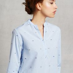 Butterflies and clear blue skies. A subtle embroidered motif graces this 100% cotton top from Steven Alan.   Now on www.zady.com