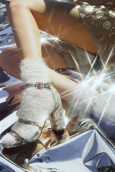 Socks and glitter heels