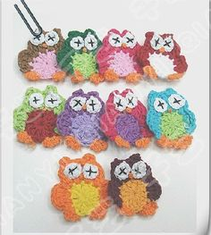 OWL Applique Mixed Colour Hand made cotton crochet flower  knitting flower Applique
