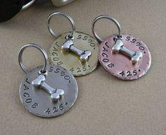 Silver Bone Dog Tag  Copper Silver Nickel by DoglegLeftDesigns, $10.95