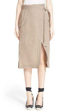 ALTUZARRA 'Ronin' Contrast Stitch Linen Skirt. #altuzarra #cloth #