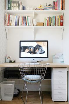 office space idea. i love the bookshelves over the computer!