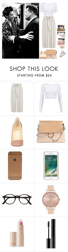 """With Harry and James Corden"" by dreamofjess ❤ liked on Polyvore featuring Cushnie Et Ochs, Christian Louboutin, Chloé, Griffin, Olivia Burton, Lipstick Queen, Giorgio Armani, Maybelline, OneDirection and harrystyles"