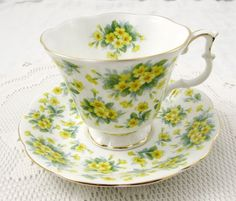 Royal Albert Tea Cup and Saucer with Yellow Flowers by TheAcreage