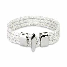 "White Braided Leather 4 Strings Bracelet PiercedFish. $13.14. T-Bar closure. White Braided Leather Bracelet. 7.87""x0.59"""