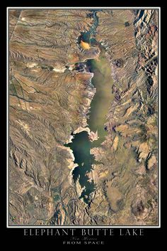 Elephant Butte Lake New Mexico From Space Satellite Art Poster