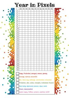 Year in pixels Anxiety Tracker