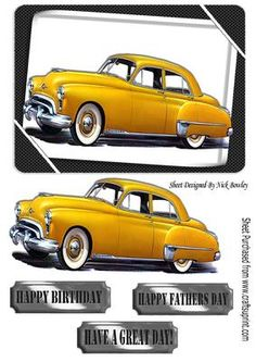 1949 yellow oldsmobile vintage car on Craftsuprint - Add To Basket!