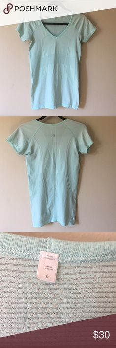 """lulu🍋 """"Swiftly V-Neck"""" Good condition! Only a small amount of tiny snags. Color is very beautiful! This top is a vneck. Size 6, but stretches some and could also fit smaller. Selling for my aunt so no trades. PRICE FIRM lululemon athletica Tops Tees - Short Sleeve"""