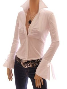 Patty Women Bell Shaped Long Sleeve Fitted Ruched Button Down Collar Shirt Blouse Top Patty. $44.99