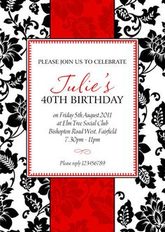 10 X PERSONALISED 30th 40th 50th 60th BIRTHDAY PARTY INVITATIONS ANY AGE