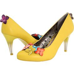 Yellow court shoes with flowers by Poetic Licence Yellow Court Shoes, Yellow Heels, Prom Shoes, Wedding Shoes, Colorful Shoes, Wedding Accessories, Kitten Heels, Pumps, Shoe Bag