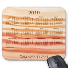 2019 Apricot Frosting Calendar by Janz Mouse Pad - birthday diy gift present custom ideas