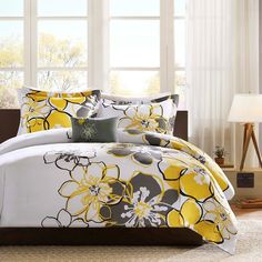 Antique Yellow Grey & White Floral Comforter Set AND Decorative Pillow (Allison-Yellow-comf)