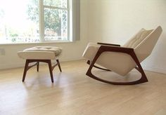 Walnut and Naugahyde Rocker and Ottoman by Stewf, via Flickr