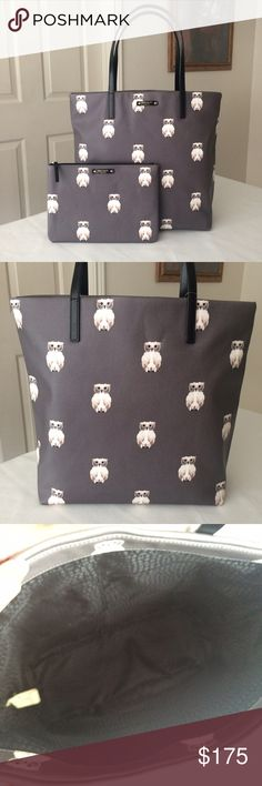 "KSNY owl bundle tote and clutch KSNY Owl Bon Shopper and clutch bundle, authentic Kate Spade Bon Shopper ""Blaze a Trail"" in gray with owl print, measures approx. 12.5""w x 13.5""h x 5""d, strap drop about 8""; includes matching clutch/pouch, measures approx. 10""w x 7""h. Both are brand new with tags and care card. kate spade Bags"